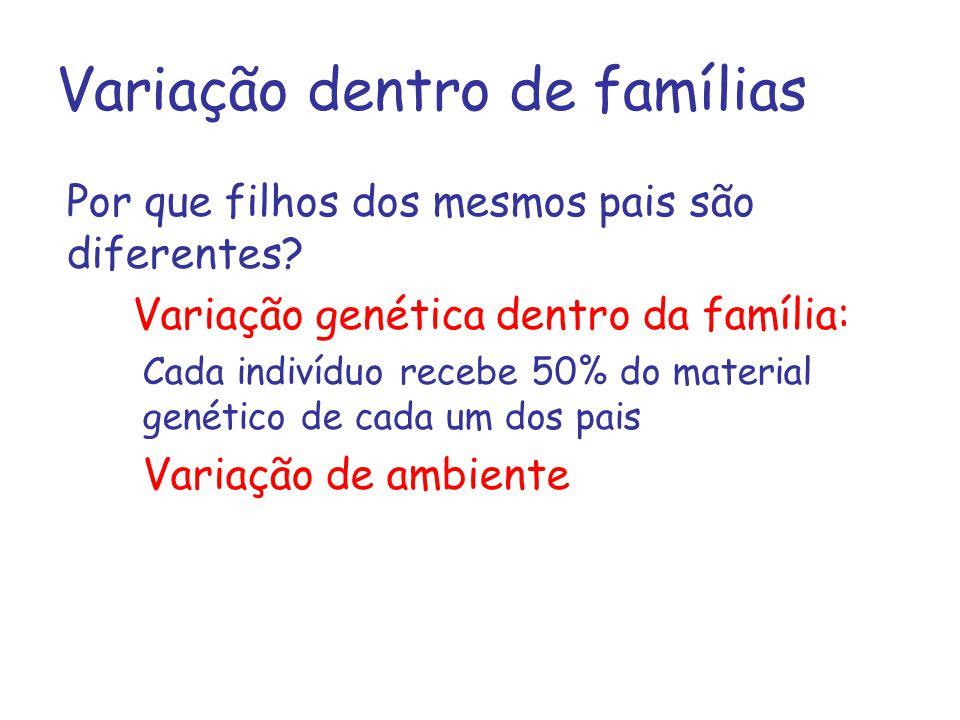 Variação dentro de famílias Por que filhos dos mesmos pais são diferentes? Variação genética dentro da família: Cada indivíduo recebe 50% do material