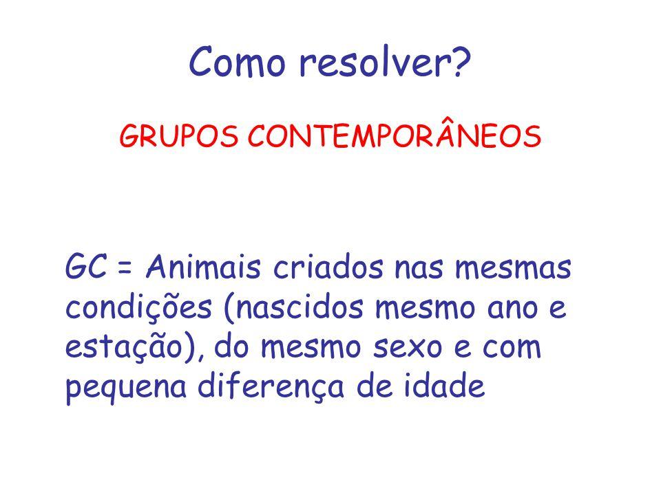 Como resolver? GRUPOS CONTEMPORÂNEOS GC = Animais criados nas mesmas condições (nascidos mesmo ano e estação), do mesmo sexo e com pequena diferença d
