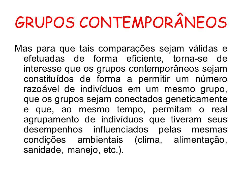 GRUPOS CONTEMPORÂNEOS Mas para que tais comparações sejam válidas e efetuadas de forma eficiente, torna-se de interesse que os grupos contemporâneos s