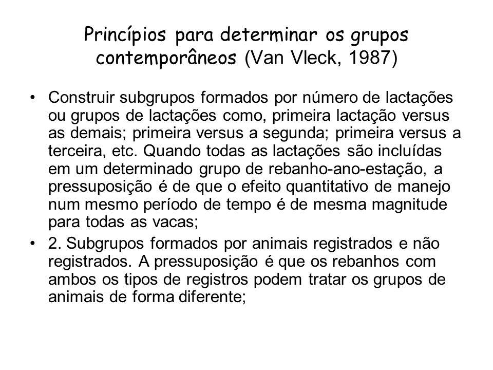 Princípios para determinar os grupos contemporâneos (Van Vleck, 1987) Construir subgrupos formados por número de lactações ou grupos de lactações como