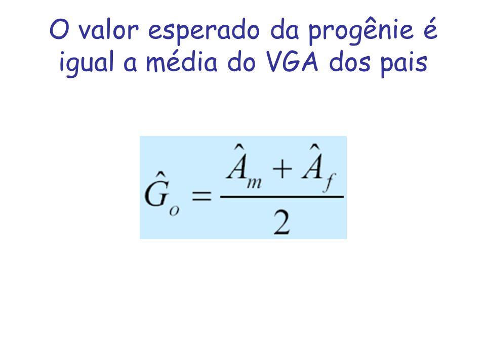 Exemplo Ovelha = 80 kg Carneiro = 90 kg Média do rebanho = 70 kg h 2 = 0,25 VGA ovelha = 10 x 0,25 = 2,5 VGA carneiro = 20 x 0,25 = 5,0