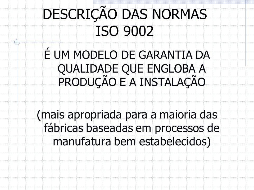 DESCRIÇÃO DAS NORMAS ISO 9002 É UM MODELO DE GARANTIA DA QUALIDADE QUE ENGLOBA A PRODUÇÃO E A INSTALAÇÃO (mais apropriada para a maioria das fábricas
