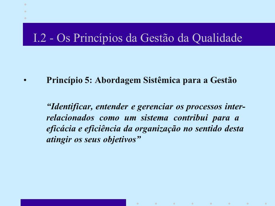 I.2 - Os Princípios da Gestão da Qualidade Princípio 5: Abordagem Sistêmica para a Gestão Identificar, entender e gerenciar os processos inter- relacionados como um sistema contribui para a eficácia e eficiência da organização no sentido desta atingir os seus objetivos Um sistema de gestão da qualidade bem definido é crítico para a comunicação de expectativas e medições pró- ativas da sua eficácia e pode ser identificado como: Uma série de etapas desenvolvidas para assegurar que objetivos estabelecidos e acordados sejam alcançados Um sistema de gestão da qualidade bem definido é crítico para a comunicação de expectativas e medições pró- ativas da sua eficácia e pode ser identificado como: Uma série de etapas desenvolvidas para assegurar que objetivos estabelecidos e acordados sejam alcançados