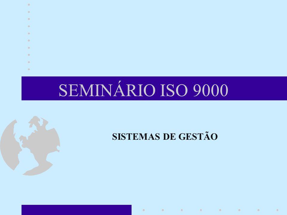 SEMINÁRIO ISO 9000 SISTEMAS DE GESTÃO Neste módulo, vamos descrever um sistema de gestão e seus elementos principais.