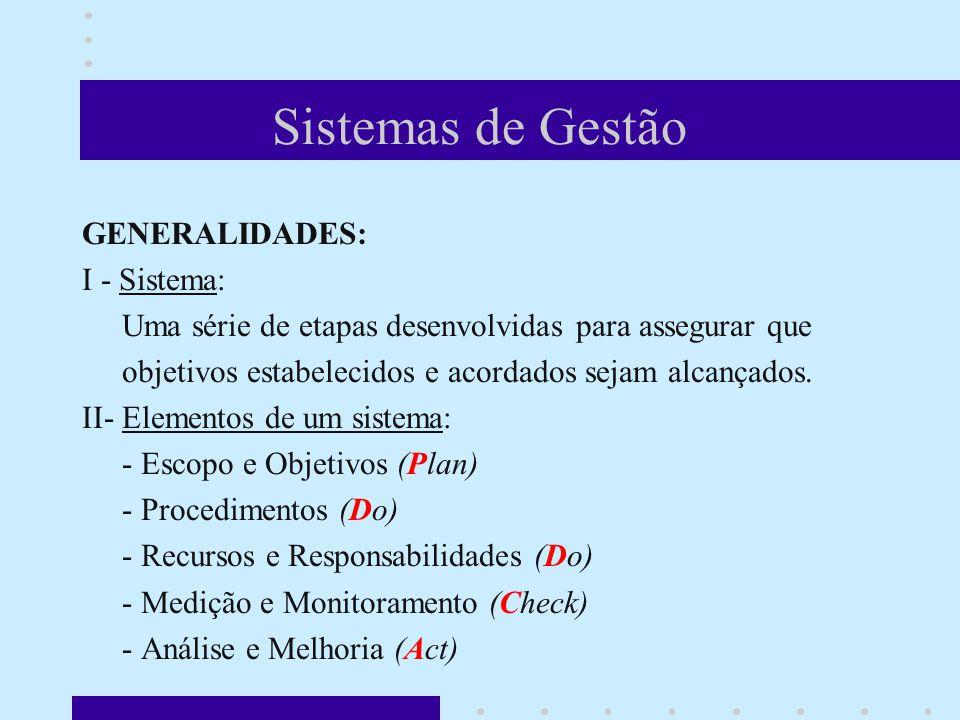 Sistemas de Gestão GENERALIDADES: I - Sistema: Uma série de etapas desenvolvidas para assegurar que objetivos estabelecidos e acordados sejam alcançados.