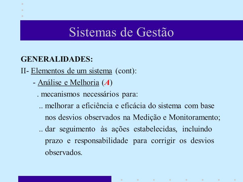 Sistemas de Gestão GENERALIDADES: II- Elementos de um sistema (cont): - Análise e Melhoria (A).