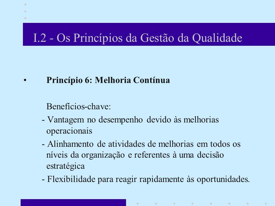 I.2 - Os Princípios da Gestão da Qualidade Princípio 6: Melhoria Contínua Benefícios-chave: - Vantagem no desempenho devido às melhorias operacionais - Alinhamento de atividades de melhorias em todos os níveis da organização e referentes à uma decisão estratégica - Flexibilidade para reagir rapidamente às oportunidades.