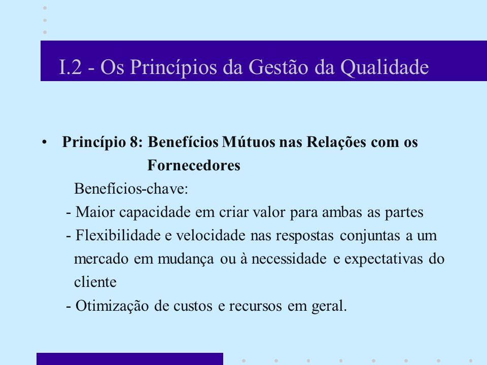 I.2 - Os Princípios da Gestão da Qualidade Princípio 8: Benefícios Mútuos nas Relações com os Fornecedores Benefícios-chave: - Maior capacidade em criar valor para ambas as partes - Flexibilidade e velocidade nas respostas conjuntas a um mercado em mudança ou à necessidade e expectativas do cliente - Otimização de custos e recursos em geral.