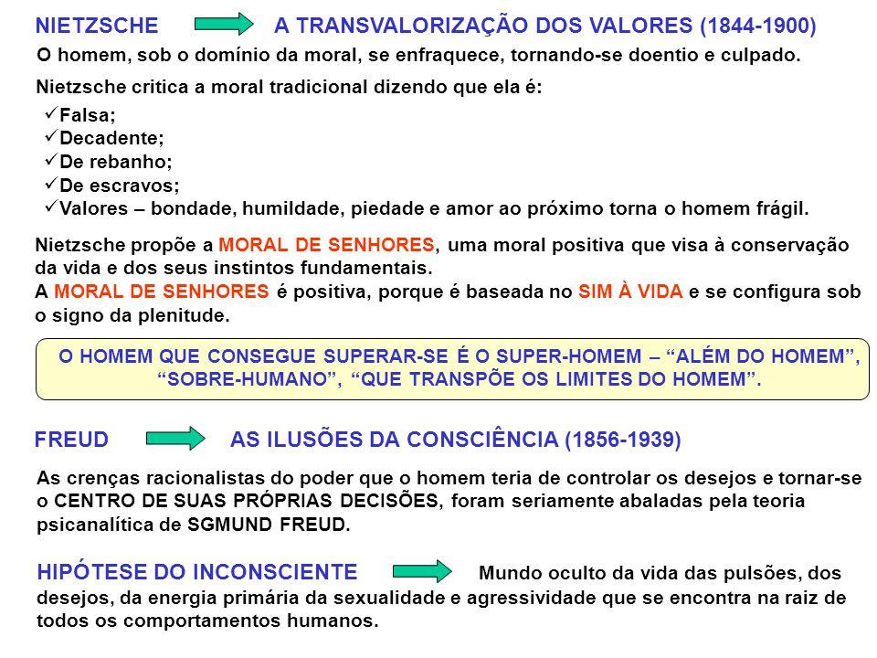 NIETZSCHE A TRANSVALORIZAÇÃO DOS VALORES (1844-1900) O homem, sob o domínio da moral, se enfraquece, tornando-se doentio e culpado.