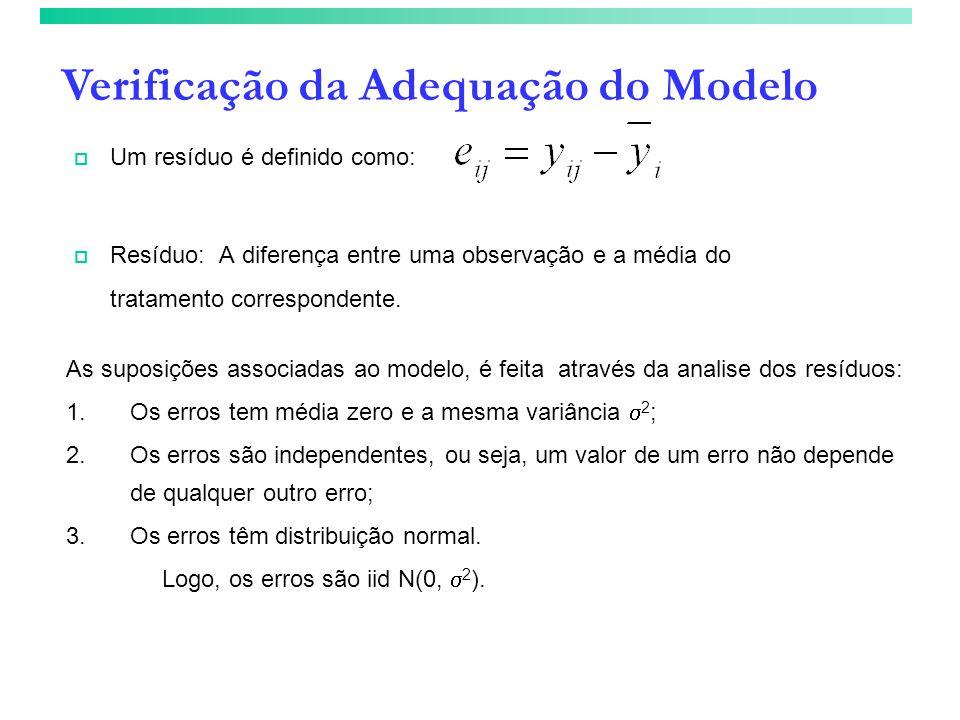 Verificação da Adequação do Modelo Um resíduo é definido como: Resíduo: A diferença entre uma observação e a média do tratamento correspondente. As su