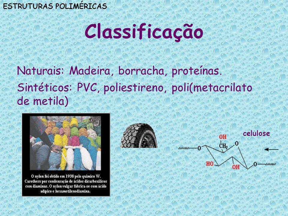 ESTRUTURAS POLIMÉRICAS Exemplos de fontes de monômeros para obtenção de alguns polímeros sintéticos
