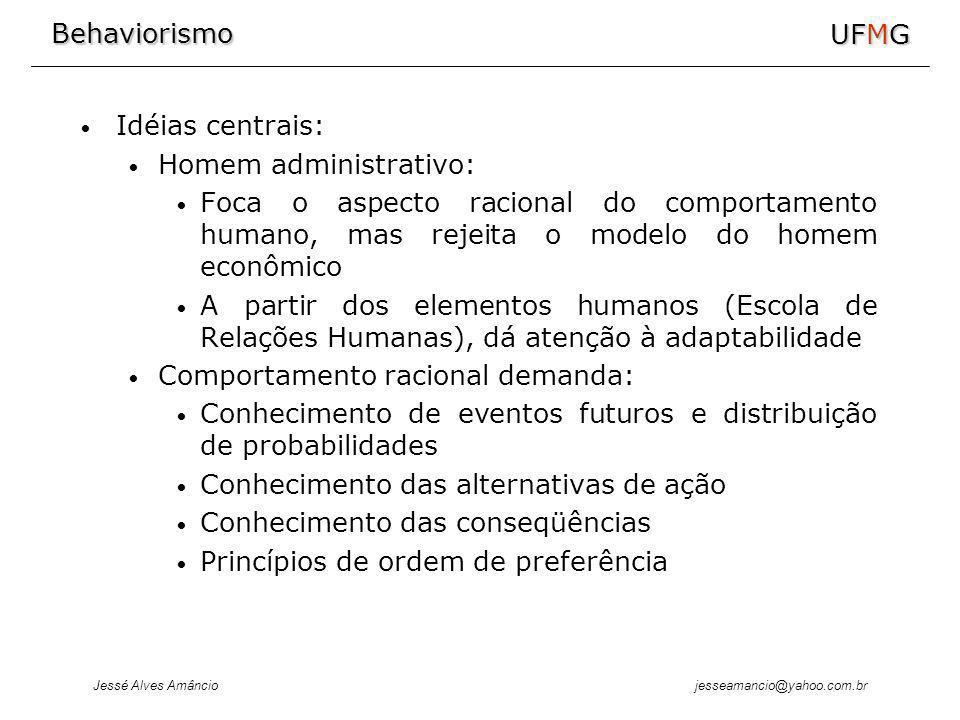 Behaviorismo Jessé Alves Amâncio UFMG jesseamancio@yahoo.com.br Idéias centrais: Homem administrativo: Foca o aspecto racional do comportamento humano