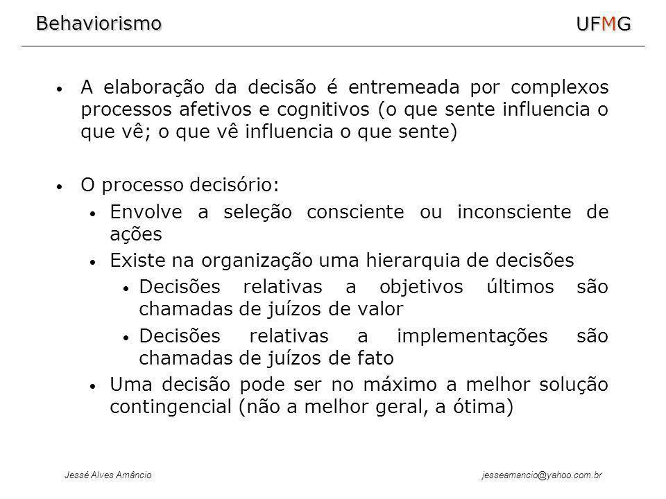 Behaviorismo Jessé Alves Amâncio UFMG jesseamancio@yahoo.com.br A elaboração da decisão é entremeada por complexos processos afetivos e cognitivos (o