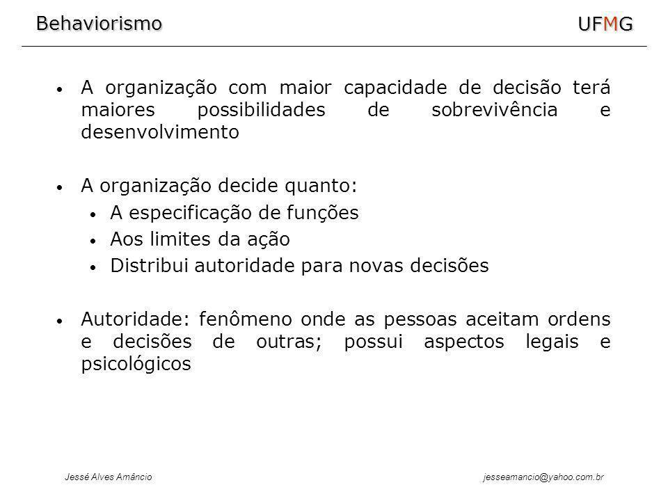 Behaviorismo Jessé Alves Amâncio UFMG jesseamancio@yahoo.com.br A organização com maior capacidade de decisão terá maiores possibilidades de sobrevivê