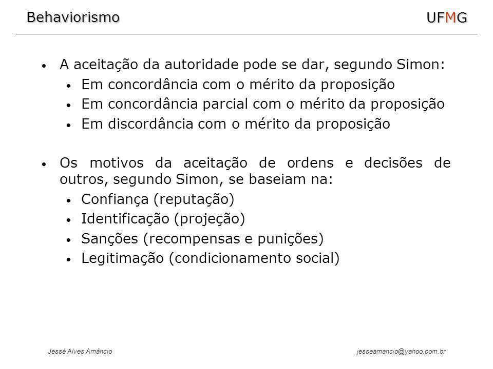 Behaviorismo Jessé Alves Amâncio UFMG jesseamancio@yahoo.com.br A aceitação da autoridade pode se dar, segundo Simon: Em concordância com o mérito da