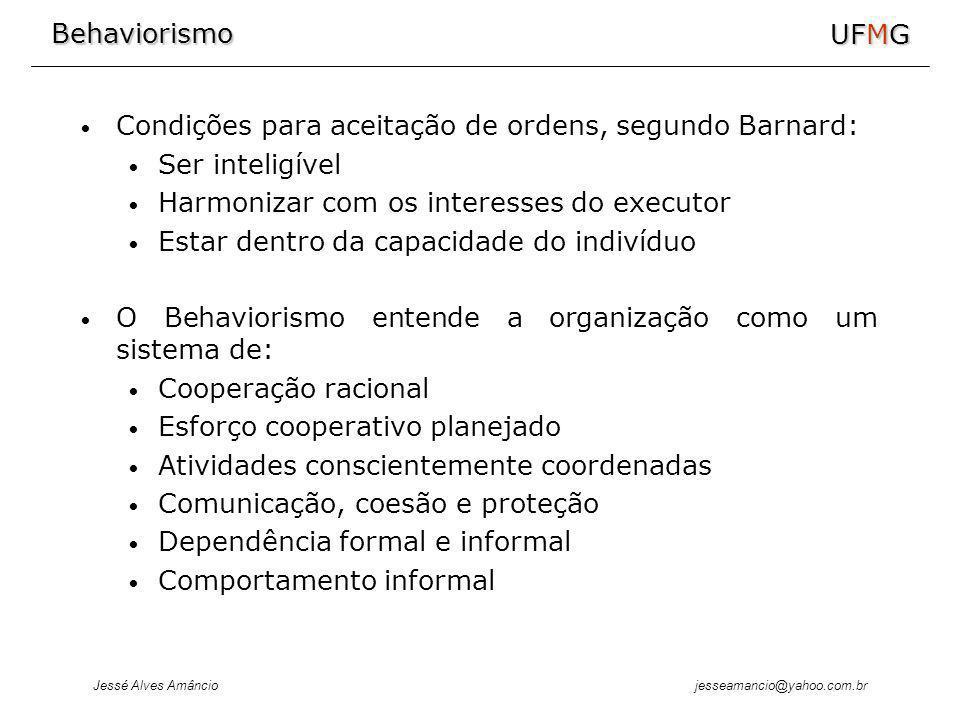 Behaviorismo Jessé Alves Amâncio UFMG jesseamancio@yahoo.com.br Condições para aceitação de ordens, segundo Barnard: Ser inteligível Harmonizar com os