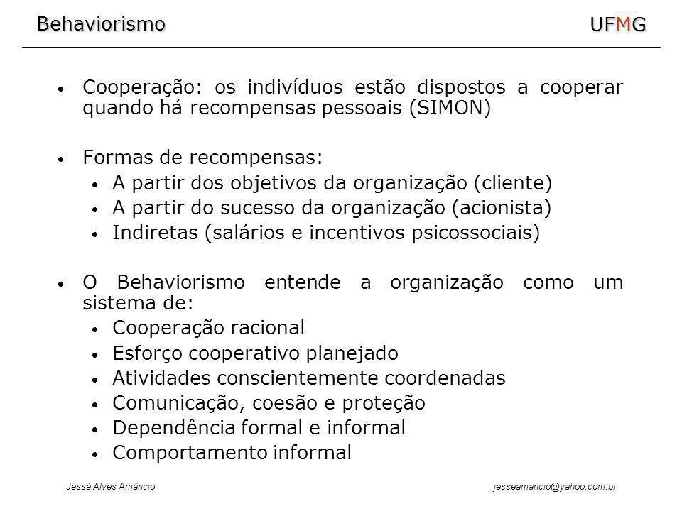 Behaviorismo Jessé Alves Amâncio UFMG jesseamancio@yahoo.com.br Cooperação: os indivíduos estão dispostos a cooperar quando há recompensas pessoais (SIMON) Formas de recompensas: A partir dos objetivos da organização (cliente) A partir do sucesso da organização (acionista) Indiretas (salários e incentivos psicossociais) O Behaviorismo entende a organização como um sistema de: Cooperação racional Esforço cooperativo planejado Atividades conscientemente coordenadas Comunicação, coesão e proteção Dependência formal e informal Comportamento informal