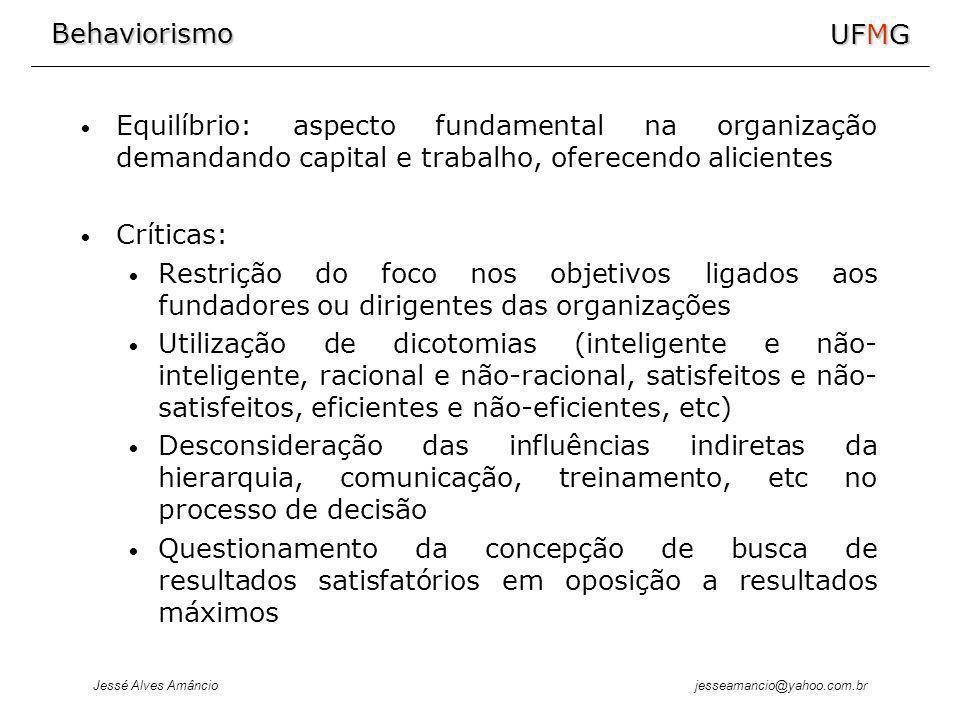 Behaviorismo Jessé Alves Amâncio UFMG jesseamancio@yahoo.com.br Equilíbrio: aspecto fundamental na organização demandando capital e trabalho, oferecen