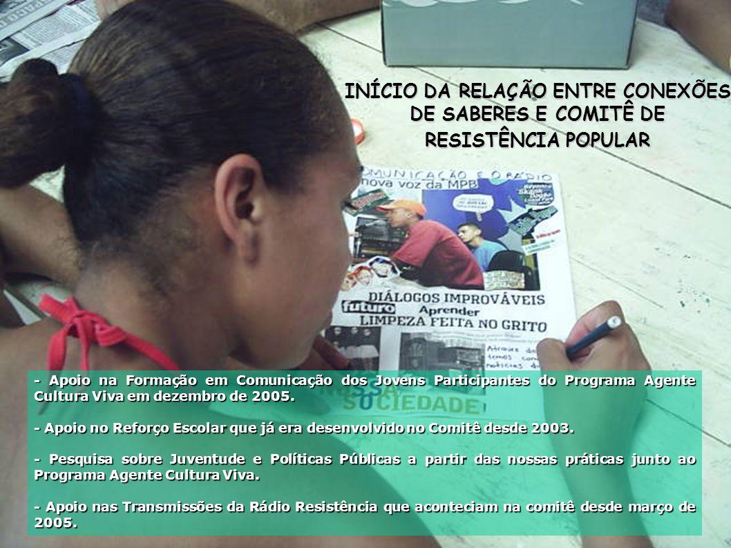 INÍCIO DA RELAÇÃO ENTRE CONEXÕES DE SABERES E COMITÊ DE RESISTÊNCIA POPULAR - Apoio na Formação em Comunicação dos Jovens Participantes do Programa Agente Cultura Viva em dezembro de 2005.