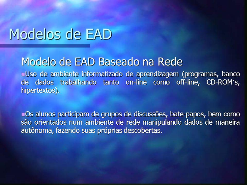 Modelos de EAD Modelo de EAD Baseado na Rede Uso de ambiente informatizado de aprendizagem (programas, banco de dados trabalhando tanto on-line como off-line, CD-ROM´s, hipertextos).