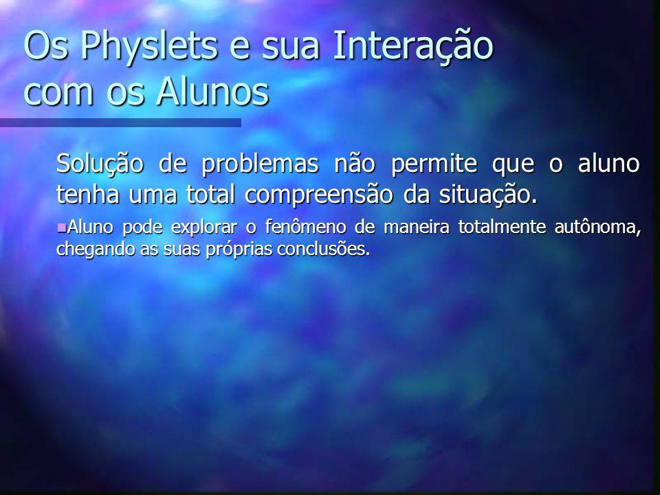 Os Physlets e sua Interação com os Alunos Solução de problemas não permite que o aluno tenha uma total compreensão da situação.