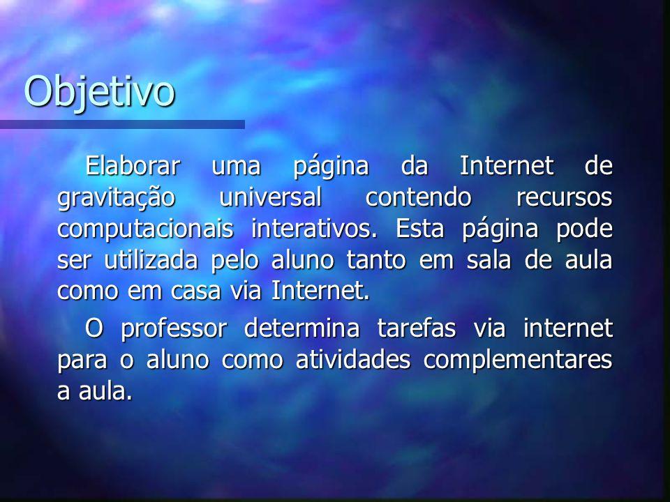 Objetivo Elaborar uma página da Internet de gravitação universal contendo recursos computacionais interativos.