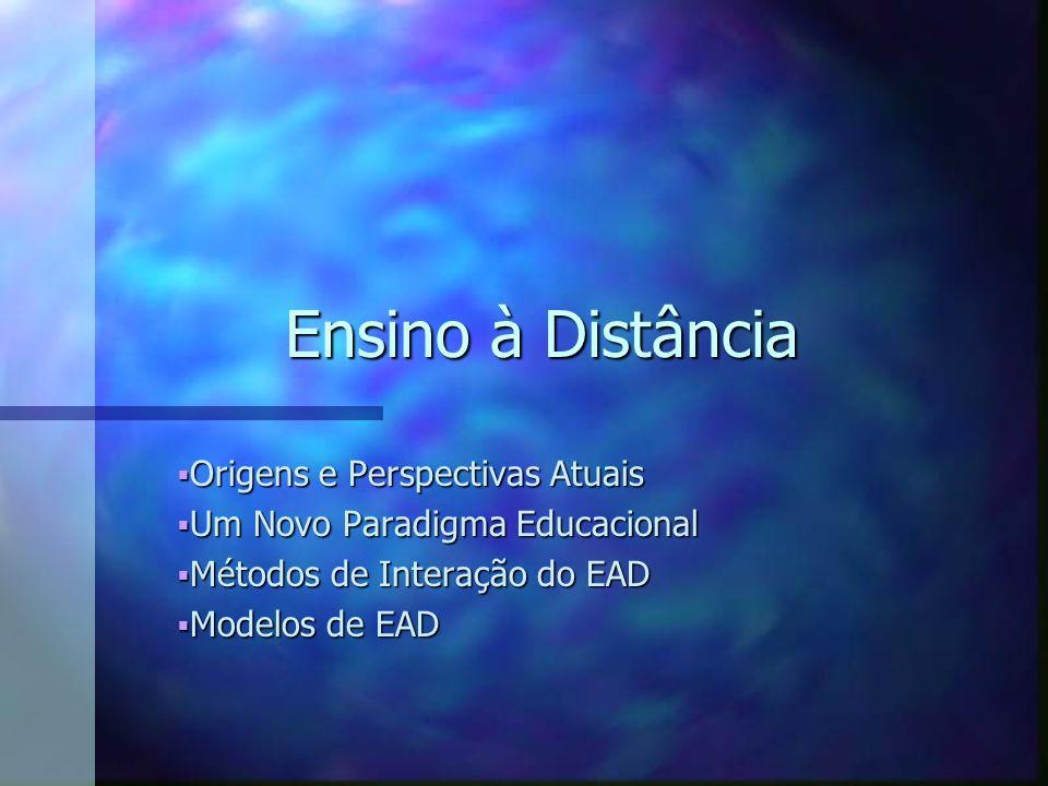 Origens e Perspectivas Atuais Origens e Perspectivas Atuais Um Novo Paradigma Educacional Um Novo Paradigma Educacional Métodos de Interação do EAD Métodos de Interação do EAD Modelos de EAD Modelos de EAD Ensino à Distância
