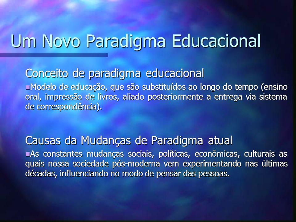 Um Novo Paradigma Educacional Conceito de paradigma educacional Modelo de educação, que são substituídos ao longo do tempo (ensino oral, impressão de livros, aliado posteriormente a entrega via sistema de correspondência).