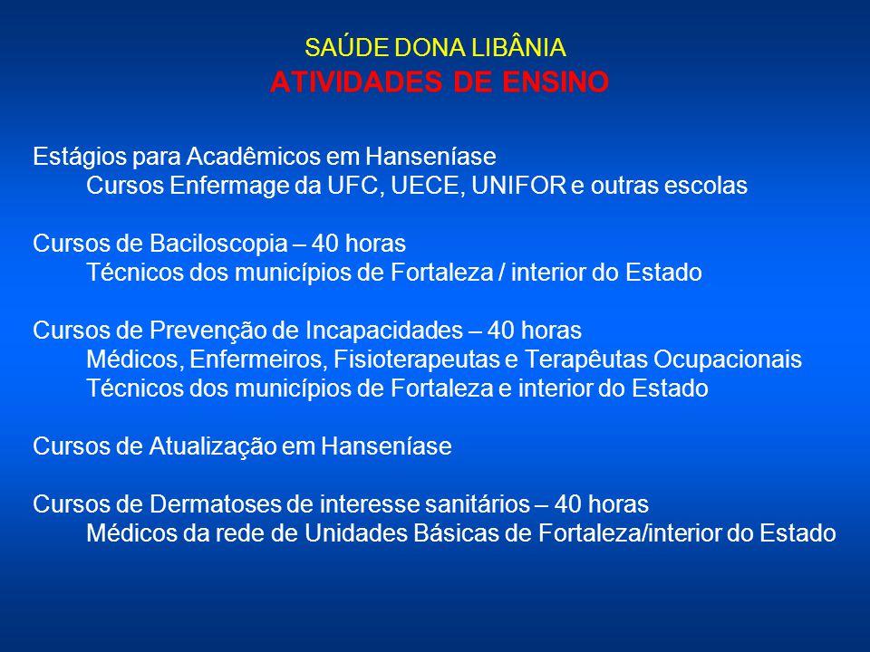 SAÚDE DONA LIBÂNIA ATIVIDADES DE ENSINO Estágios para Acadêmicos em Hanseníase Cursos Enfermage da UFC, UECE, UNIFOR e outras escolas Cursos de Bacilo