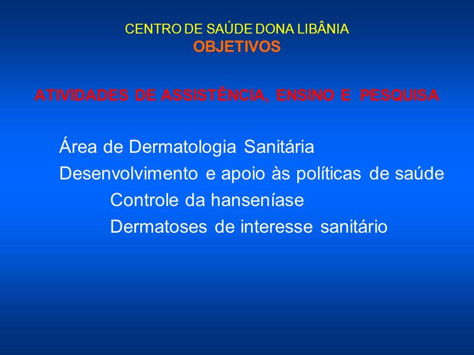 CENTRO DE SAÚDE DONA LIBÂNIA OBJETIVOS ATIVIDADES DE ASSISTÊNCIA, ENSINO E PESQUISA Área de Dermatologia Sanitária Desenvolvimento e apoio às política