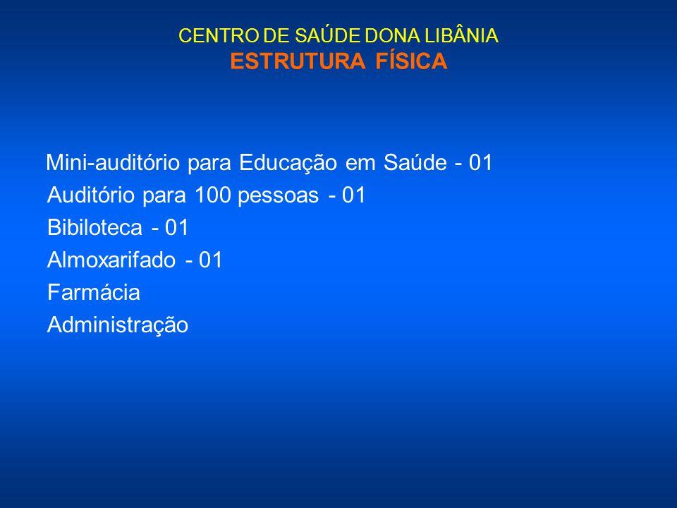 CENTRO DE SAÚDE DONA LIBÂNIA ESTRUTURA FÍSICA Mini-auditório para Educação em Saúde - 01 Auditório para 100 pessoas - 01 Bibiloteca - 01 Almoxarifado