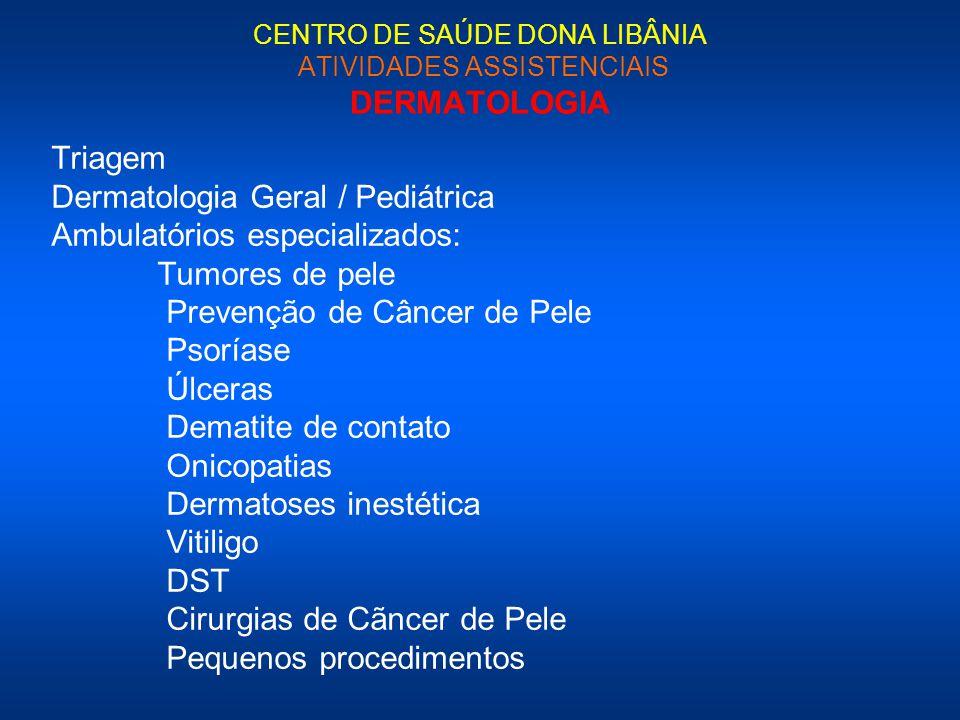 CENTRO DE SAÚDE DONA LIBÂNIA ATIVIDADES ASSISTENCIAIS DERMATOLOGIA Triagem Dermatologia Geral / Pediátrica Ambulatórios especializados: Tumores de pel