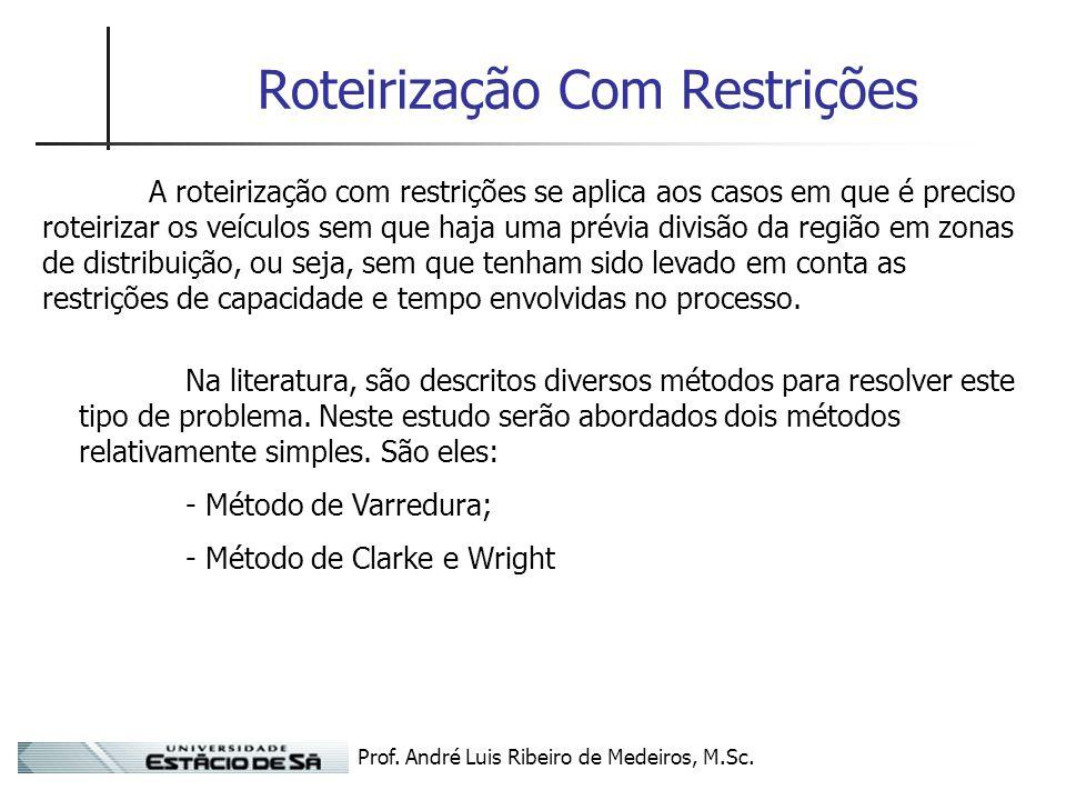 Prof. André Luis Ribeiro de Medeiros, M.Sc. Roteirização Com Restrições A roteirização com restrições se aplica aos casos em que é preciso roteirizar