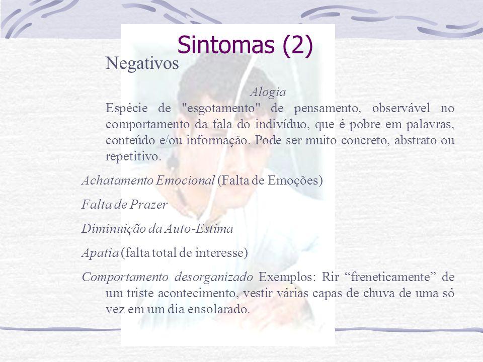 Sintomas (1) Positivos Alucinação-> Percepção sensorial que traz a clara sensação de realidade de um estímulo verdadeiro, mas que ocorre sem estimulaç