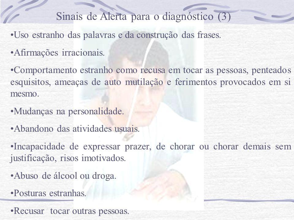 Sinais de Alerta para o diagnóstico (2) Reacções exageradas às reprovações dos parentes e amigos. Deterioração da higiene pessoal. Viagens ou desejo d