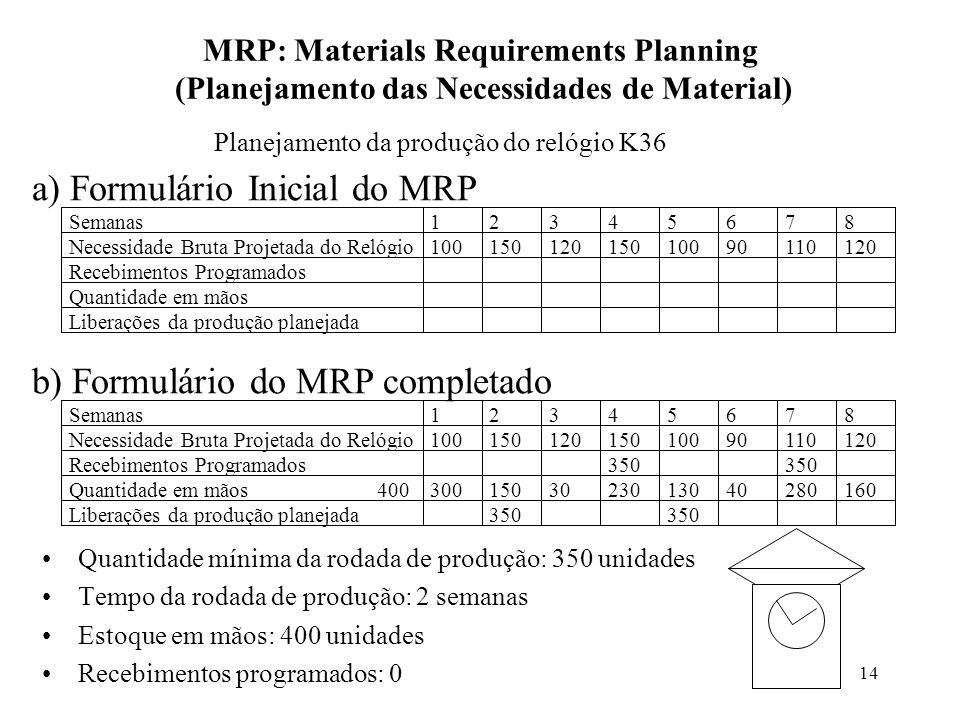 14 MRP: Materials Requirements Planning (Planejamento das Necessidades de Material) Quantidade mínima da rodada de produção: 350 unidades Tempo da rodada de produção: 2 semanas Estoque em mãos: 400 unidades Recebimentos programados: 0 Planejamento da produção do relógio K36