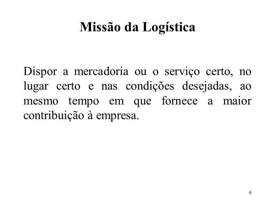 6 Missão da Logística Dispor a mercadoria ou o serviço certo, no lugar certo e nas condições desejadas, ao mesmo tempo em que fornece a maior contribuição à empresa.