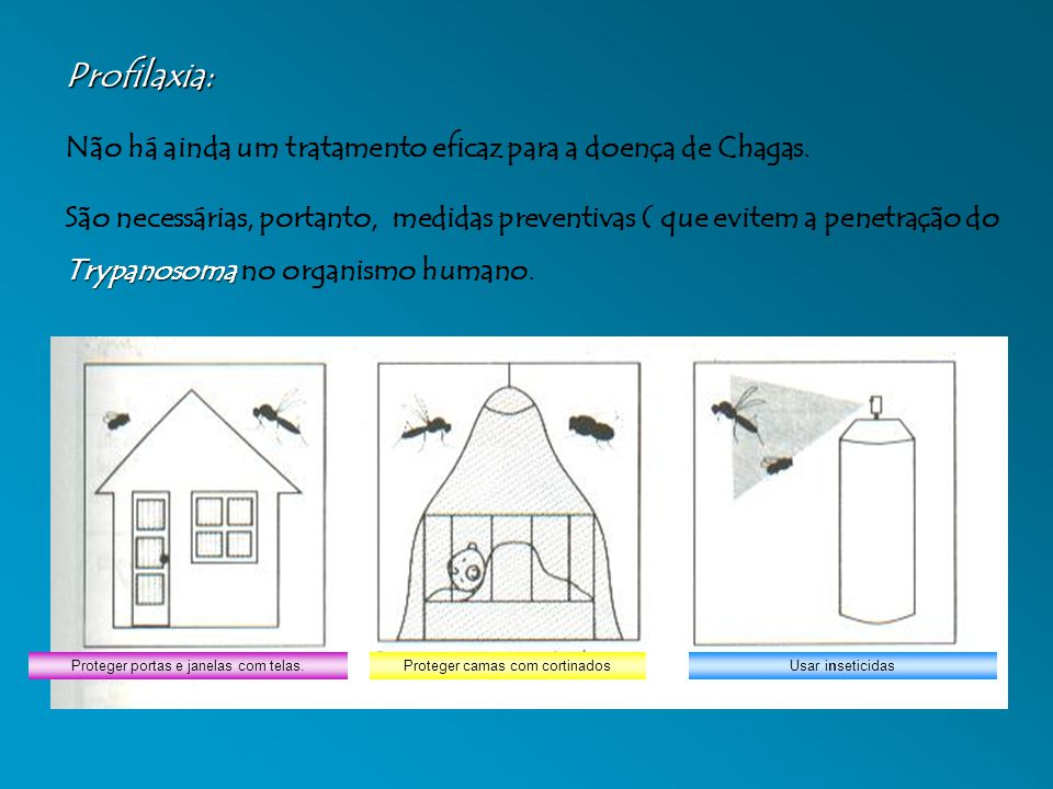 Proteger portas e janelas com telas.Proteger camas com cortinadosUsar inseticidas Profilaxia: Não há ainda um tratamento eficaz para a doença de Chagas.