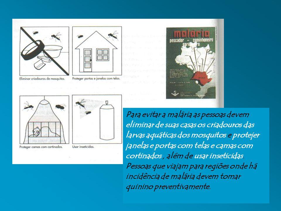 Para evitar a malária as pessoas devem eliminar de suas casas os criadouros das larvas aquáticas dos mosquitos e protejer janelas e portas com telas e camas com cortinados, além de usar inseticidas.