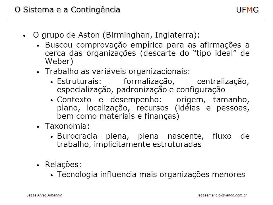 O Sistema e a Contingência Jessé Alves Amâncio UFMG jesseamancio@yahoo.com.br O grupo de Aston (Birminghan, Inglaterra): Buscou comprovação empírica para as afirmações a cerca das organizações (descarte do tipo ideal de Weber) Trabalho as variáveis organizacionais: Estruturais: formalização, centralização, especialização, padronização e configuração Contexto e desempenho: origem, tamanho, plano, localização, recursos (idéias e pessoas, bem como materiais e finanças) Taxonomia: Burocracia plena, plena nascente, fluxo de trabalho, implicitamente estruturadas Relações: Tecnologia influencia mais organizações menores