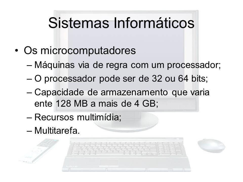 Sistemas Informáticos Os microcomputadores –Máquinas via de regra com um processador; –O processador pode ser de 32 ou 64 bits; –Capacidade de armazen