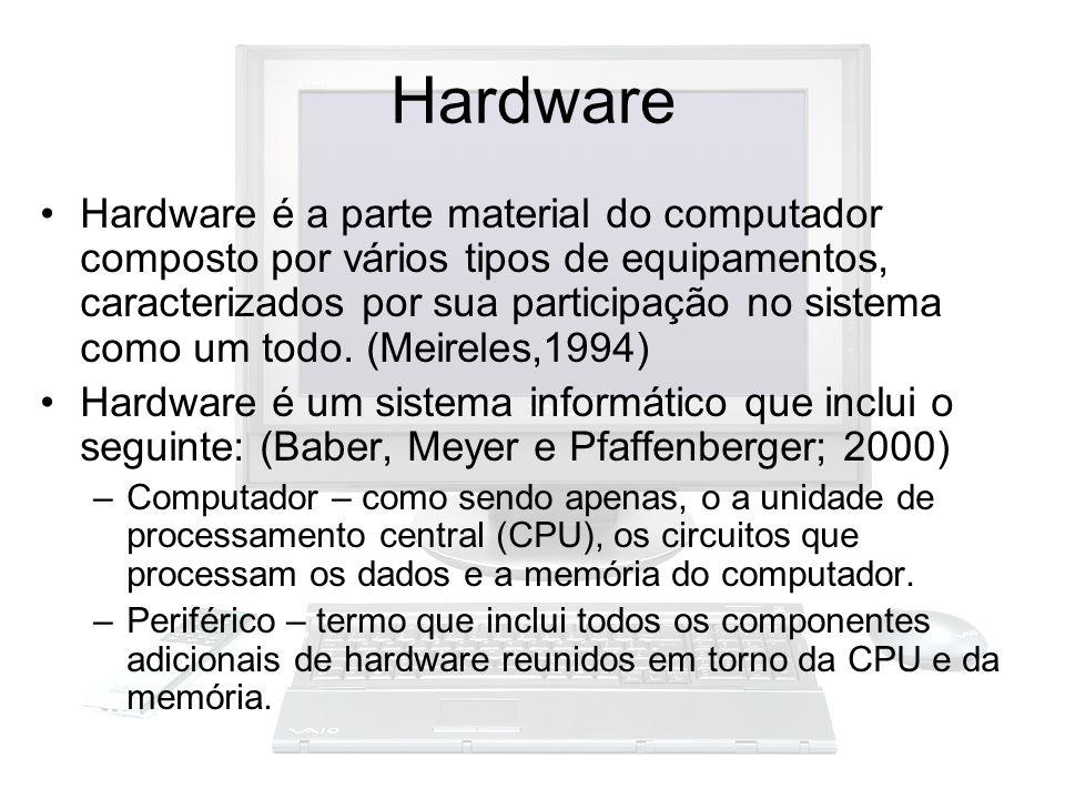Hardware Hardware é a parte material do computador composto por vários tipos de equipamentos, caracterizados por sua participação no sistema como um t
