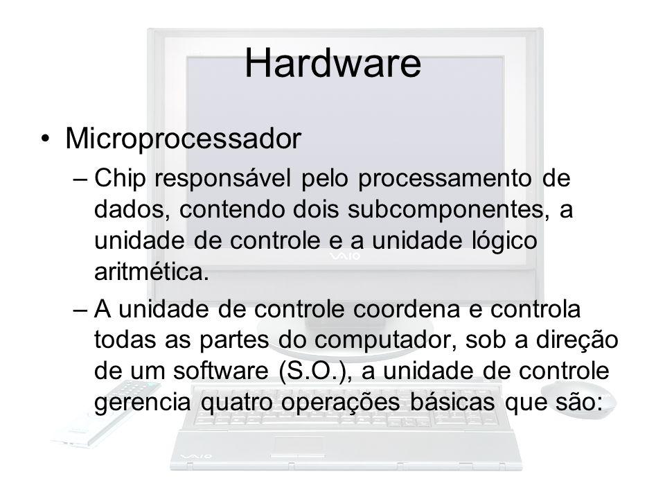 Hardware Microprocessador –Chip responsável pelo processamento de dados, contendo dois subcomponentes, a unidade de controle e a unidade lógico aritmé