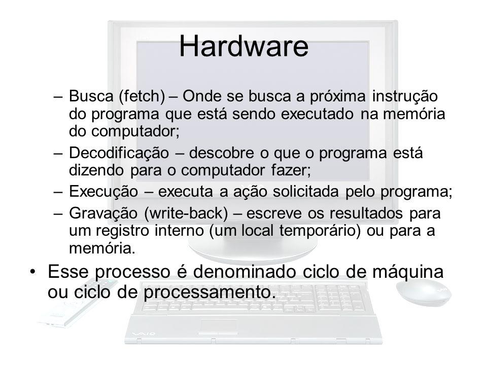 Hardware –Busca (fetch) – Onde se busca a próxima instrução do programa que está sendo executado na memória do computador; –Decodificação – descobre o