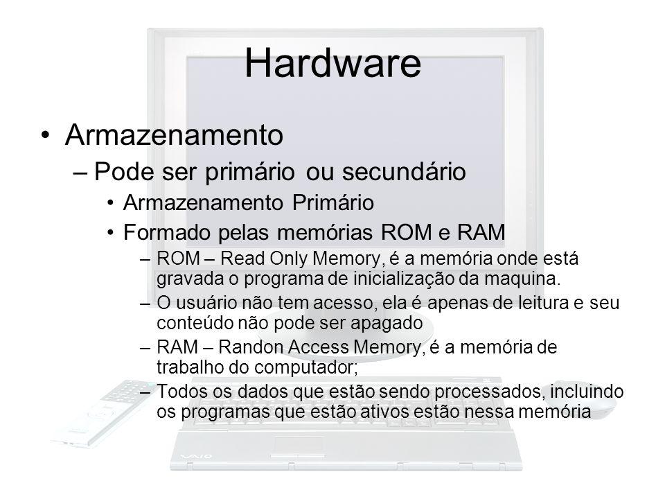 Armazenamento –Pode ser primário ou secundário Armazenamento Primário Formado pelas memórias ROM e RAM –ROM – Read Only Memory, é a memória onde está