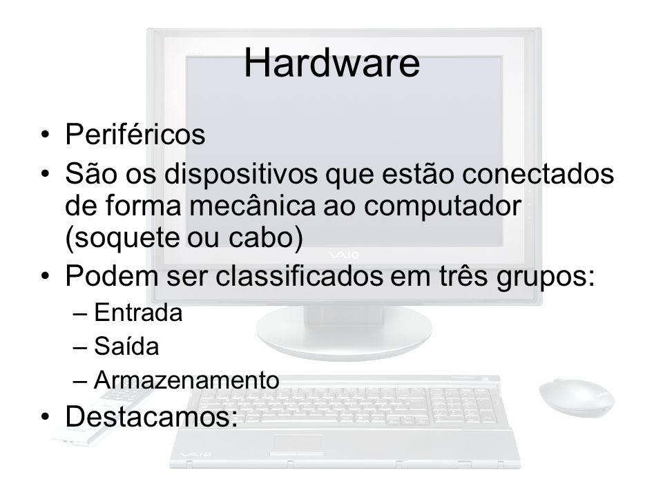 Hardware Periféricos São os dispositivos que estão conectados de forma mecânica ao computador (soquete ou cabo) Podem ser classificados em três grupos