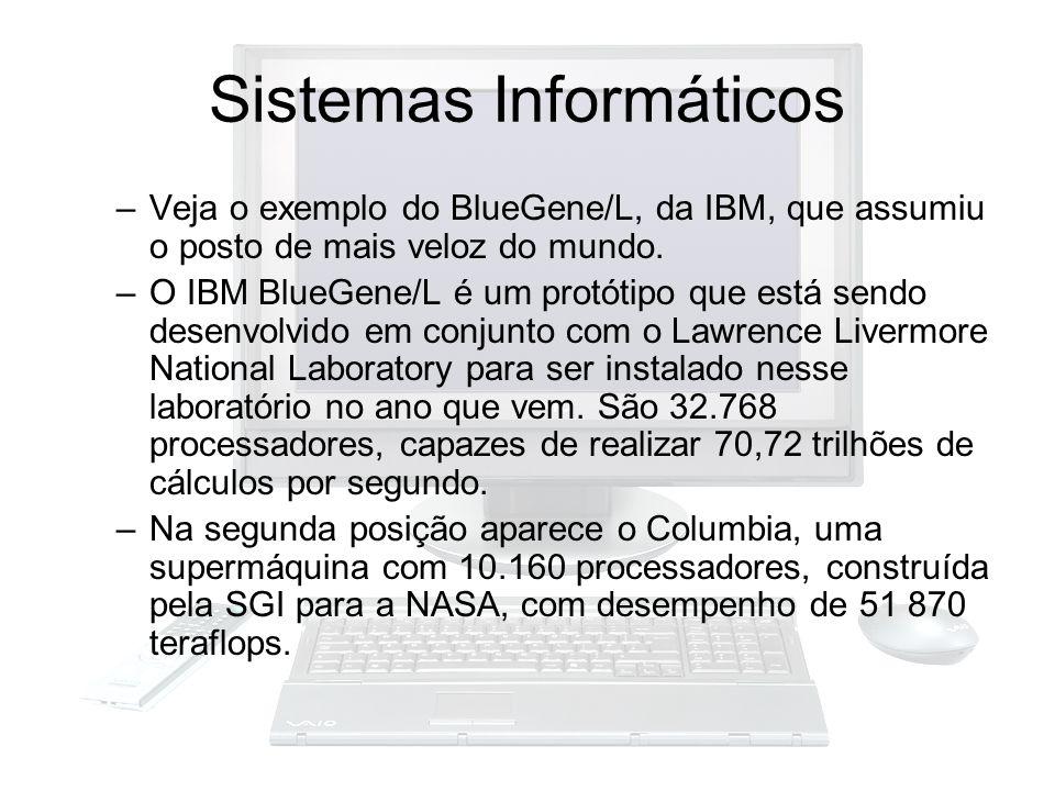 Sistemas Informáticos –Veja o exemplo do BlueGene/L, da IBM, que assumiu o posto de mais veloz do mundo. –O IBM BlueGene/L é um protótipo que está sen