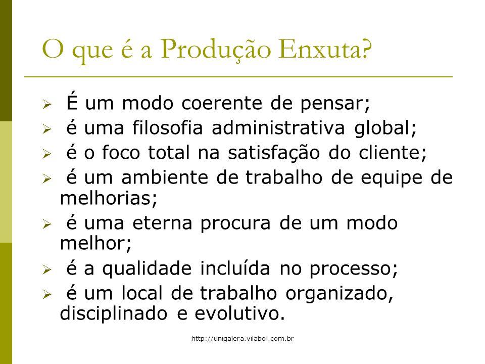 http://unigalera.vilabol.com.br O que é a Produção Enxuta? É um modo coerente de pensar; é uma filosofia administrativa global; é o foco total na sati