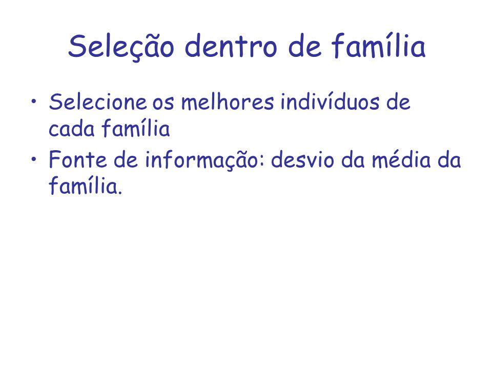 Seleção dentro de família Selecione os melhores indivíduos de cada família Fonte de informação: desvio da média da família.