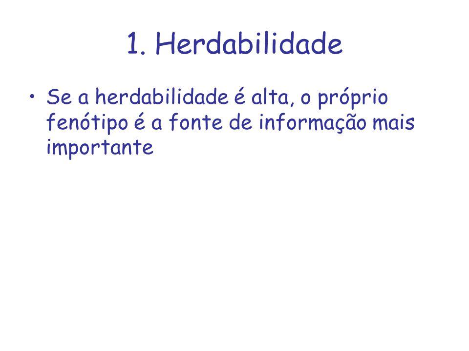 1. Herdabilidade Se a herdabilidade é alta, o próprio fenótipo é a fonte de informação mais importante